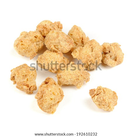 Raw Soya Chunks (Soy Meat) Isolated on White Background - stock photo