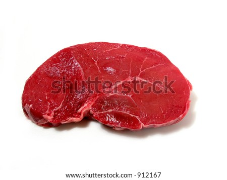 Raw steak isolated on white background