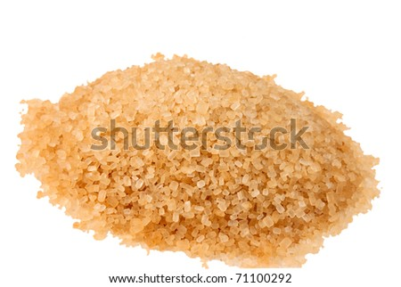 raw sugar isolated on a white background - stock photo