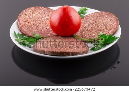 Raw Turkish Ottoman Sausage on Plate - stock photo