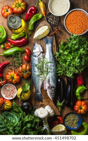 Raw Uncooked Seabass Fish Vegetables Grains Stock Photo