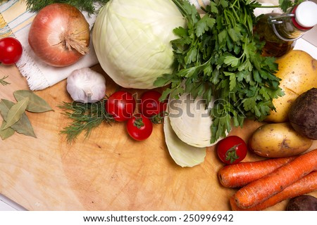 Raw vegetables: cabbage, carrots, onions, beets, garlic, tomatoes, parsley, dill and bay leaf - stock photo