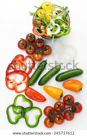 raw vegetables fresh isolated on white background / ingredients for a salad - stock photo
