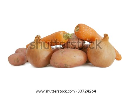 raw vegetables isolated over white
