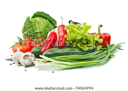 raw vegetables on the white background - stock photo