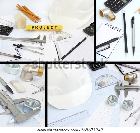 rawing tools project concept home building