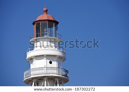 Rawley Point Lighthouse in Wisconsin - stock photo