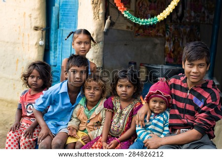 RAXAUL - NOV 7: Unidentified Indian children on Nov 7, 2013 in Raxaul, Bihar state, India. Bihar is one of the poorest states in India. The per capita income is about 300 dollars.