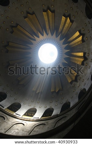 Ray of Light in the church of the holy sepulchre, jerusalem, israel. - stock photo