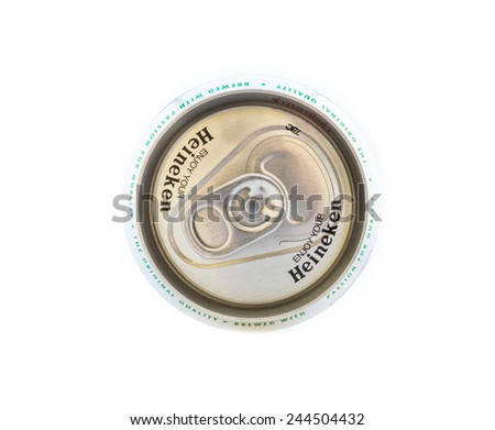 RAYONG,THAILAND - JANUARY 15, 2015: Can of Heineken beer on white background , Rayong Thailand - stock photo