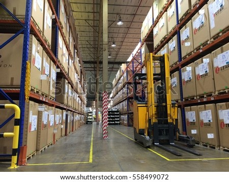 Rayong Thailand , January 18 - 2017 : factory warehouse and lift truck in store building Thailand