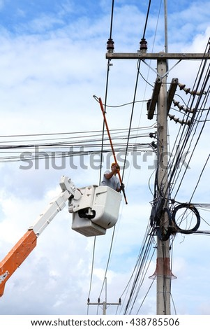 Rayong - Thailand , June 16 - 2016 : Electrical truck service and maintenence for hight voltage line  in Thailand electrical system.