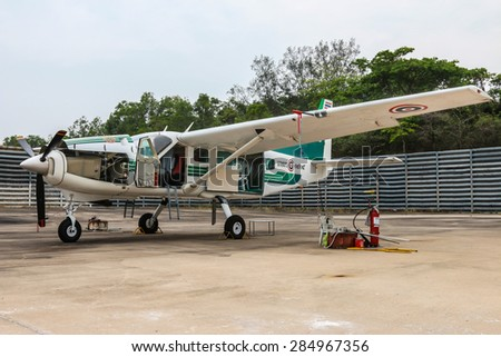 RAYONG , THAILAND- MAR 26 2015: Cessna 208 Caravan no.1918 of KASET , Bureau of Royal Rainmaking and Agricultural Aviation. U-TAPAO Airport, Rayong - stock photo