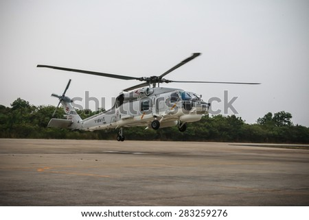 RAYONG , THAILAND- MAR 26 2015: Sikorsky UH-60 Black Hawk helicopter of royal thai navy standby in the hangar for maintenance and flight testing. U-TAPAO Airport, Rayong - stock photo