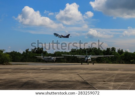 RAYONG , THAILAND- MAY 16 2015: Cessna 208 Caravan no.1918 of KASET , Bureau of Royal Rainmaking and Agricultural Aviation. U-TAPAO Airport, Rayong