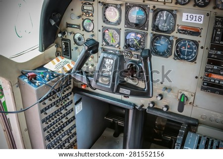 RAYONG , THAILAND- MAY 16, 2015: Inside Cessna 208 Caravan of KASET , Bureau of Royal Rainmaking and Agricultural Aviation. U-TAPAO Airport, Rayong - stock photo