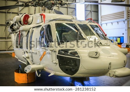 RAYONG , THAILAND- MAY 16, 2015: Sikorsky UH-60 Black Hawk helicopter of royal thai navy standby in the hangar for maintenance. U-TAPAO Airport, Rayong - stock photo