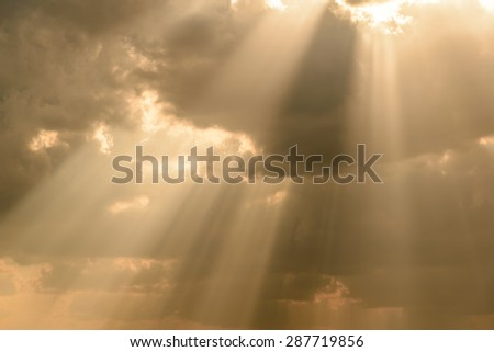 Rays of light shining down in sunset