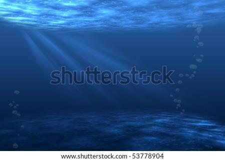Rays of light underwater,blue background - stock photo