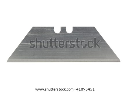 Razor blade macro isolated on white with clipping path - stock photo