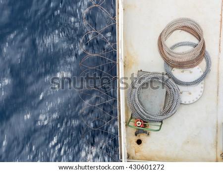 Razor on the cargo ship deck - stock photo
