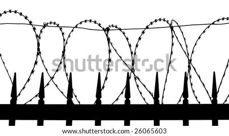 Razor wire on metal fence - silhouette - stock photo