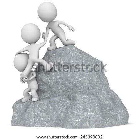 Reach for the Top. The dude 3D character x3 climbing a Rock Mountain. - stock photo