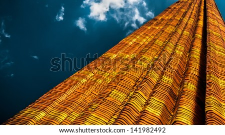 Reaching for the golden heights with layers and tracks - stock photo