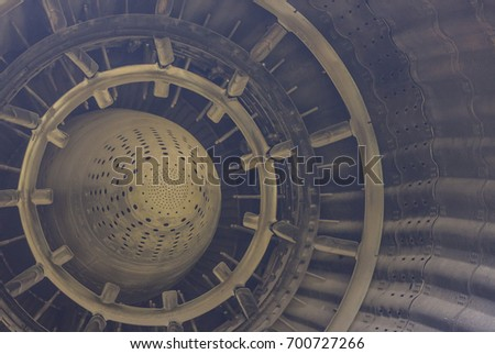 Reactive engine close up. Military jet details
