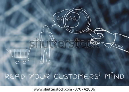 read your customers' mind: giant hand with magnifying glass analysing thoughts - stock photo