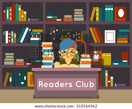 Readers club. Education and love of reading concept. Book in library, knowledge and study, literature and learning - stock photo