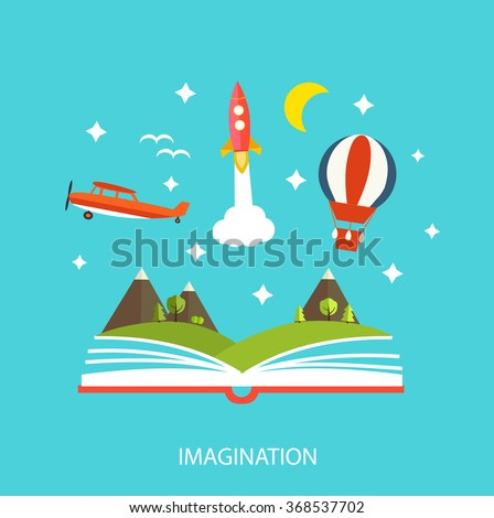 Reading book, imagination concept with opened book, stars, mountain landscape, rocket,  hot air balloon, airplane - stock photo