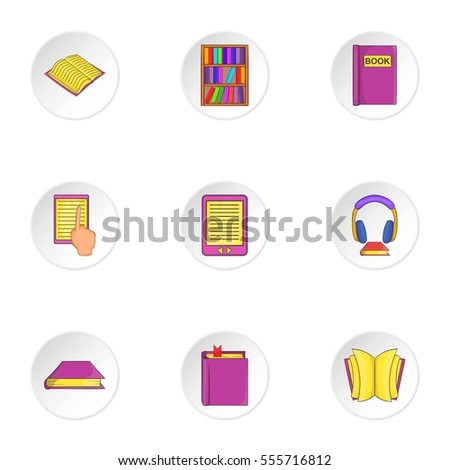 Reading books icons set. Cartoon illustration of 9 reading books  icons for web