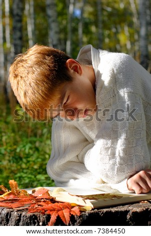 reading boy sit in autumn forest with a book - stock photo