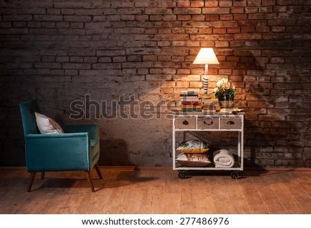 reading corner interior concept - stock photo