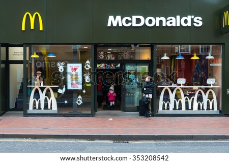 READING,ENGLAND-DECEMBER 19,2015 : McDonald's Restaurant on December 19, 2015 in Reading,England. McDonald's is one of the most successful fast food restaurants of all time. - stock photo
