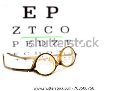 Reading Eyeglasses On Eye Chart Exam Stock Photo Royalty Free
