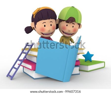 Reading Friends School - stock photo