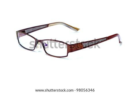 reading glasses isolated on white - stock photo