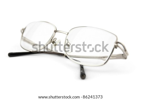 Reading optical glasses isolated on the white - stock photo