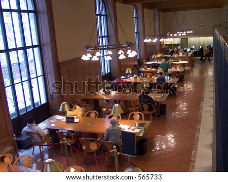 Reading room in the New York Public Library - stock photo
