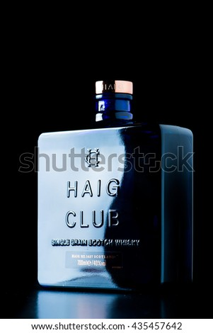 READING,UK-MAY 20,2016:Haig Club Single Grain Scotch Whisky is made at Cameronbridge is distillery in Scotland.Built on nearly 400 years. - stock photo