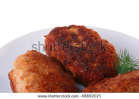 Ready cutlets are laid out on a white plate with a fennel branch. - stock photo