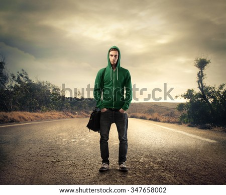 Ready for a long walk - stock photo