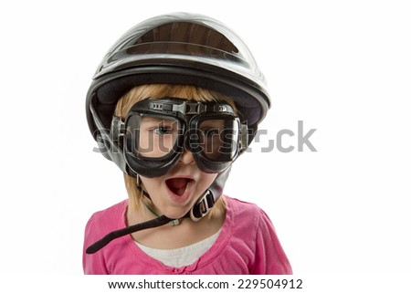 Ready for Anything - Expressive girl with helmet and goggles.  Shock and surprise.  Isolated on white.
