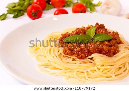 Ready for eating Italian pasta - stock photo