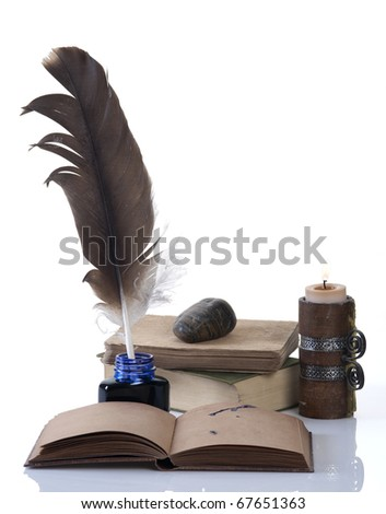 Ready for writing old style set with a feather and a candle on a white background - stock photo