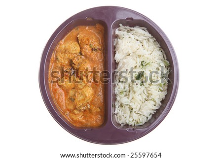 Ready-meal of chicken curry and rice - stock photo