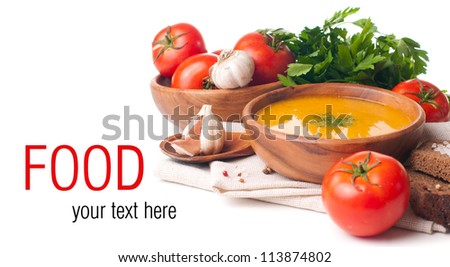 Ready template with a vegetarian food, soup, vegetables and herbs isolated - stock photo