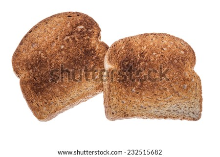 Ready toasts for a healthy breakfast. On a white background. - stock photo